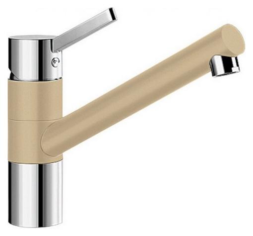 Tivo 517605 Хром/ШампаньСмесители<br>Blanko Tivo 517605. Однорычажный смеситель для кухни. Сочетает хромированную поверхность и инновационный материал Silgranit, цвет хром/шампань. Керамический картридж. Гибкая подводка стандарта 3/8. Допустимая толщина столешницы: 40 мм. Длина излива: 215 мм. Высота излива: 145 мм. Вращение излива на 360 градусов. Стабилизирующая пластина для увеличения устойчивости смесителя.<br>