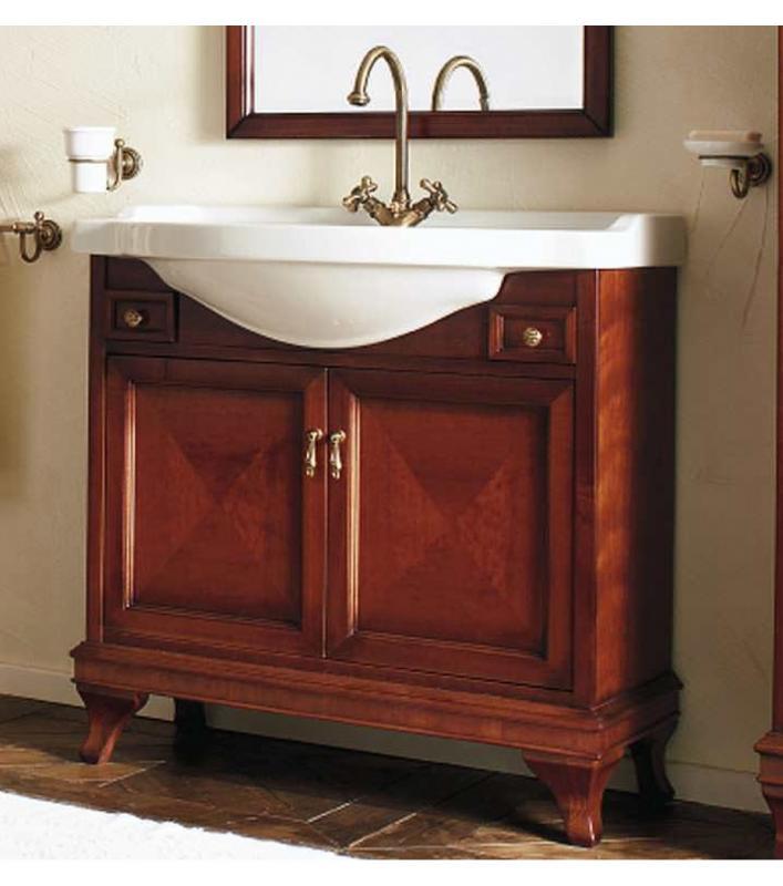 Marriot 85 Вишня/БронзаМебель для ванной<br>Мебель для ванной Labor Legno, тумба Marriot MPL85 с двумя распашными дверцами и двумя ящичками, а также с овальной раковиной MC85 с одним отверстием под смеситель 85x51 см. Фасад вишня, фурнитура бронза, раковина белый.<br>