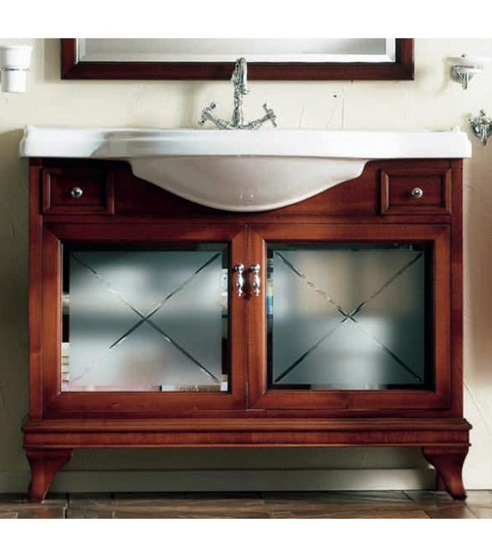 Marriot 85 Вишня/БронзаМебель для ванной<br>Мебель для ванной Labor Legno, тумба Marriot MPL85V с двумя распашными дверцами со стеклом и двумя ящичками, а также с овальной раковиной MC85 с одним отверстием под смеситель 85x51 см. Фасад вишня, фурнитура бронза, раковина белый.<br>