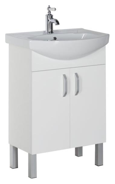 Алькона 60 с дверцами белаяМебель для ванной<br>Тумба под раковину Aquanet Алькона 60 с дверцами, цвет белый, 2 распашные дверцы. Дверная фурнитура представлена удобными ручками. Механизм доводчиков обеспечивает плавное и плотное закрывание дверок. В комплект поставки входит тумба.<br>