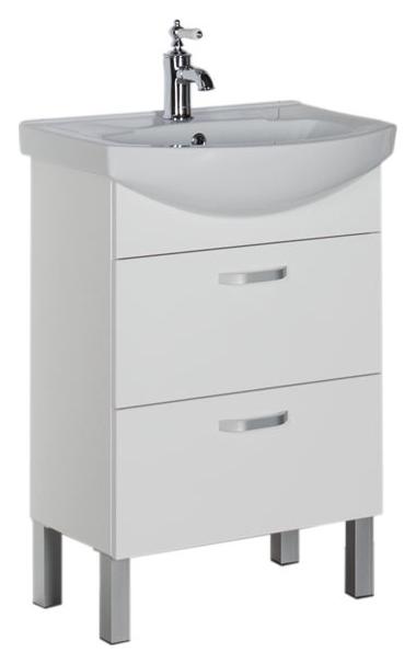 Алькона 60 с ящиками белаяМебель для ванной<br>Тумба под раковину Aquanet Алькона 60 с ящиками, цвет белый, 2 выдвижных ящика. Фурнитура представлена удобными ручками. Механизм доводчиков обеспечивает плавное и плотное закрывание ящиков.. В комплект поставки входит тумба.<br>