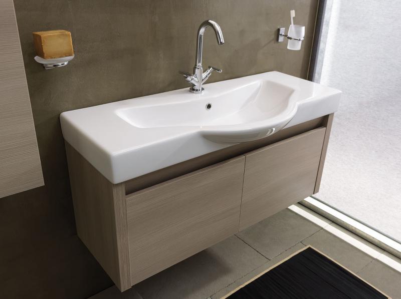 Ciak 110 КофеМебель для ванной<br>Мебель для ванной Labor Legno Ciak, подвесная база под раковину, раковина-столешница с 1 отверстием, зеркало 900x700 мм и светильник. Цвет coffee.<br>