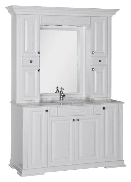 Кастильо 140 белаяМебель для ванной<br>Тумба под раковину Aquanet Кастильо 140 белая, 4 распашные дверцы. Лепной декор и интересное сочетание цветов фасада и мраморной столешницы делают мебель изюминкой современной элитной квартиры. В комплект поставки входит тумба.<br>