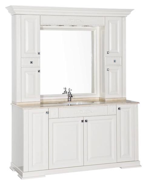 Кастильо 160 белаяМебель для ванной<br>Тумба под раковину Aquanet Кастильо 160 белая, 4 распашные дверцы. Лепной декор и интересное сочетание цветов фасада и мраморной столешницы делают мебель изюминкой современной элитной квартиры. В комплект поставки входит тумба.<br>