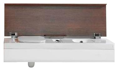 G-Full YXVJ91 Белый/ВенгеУнитазы<br>Hatria G-Full YXVJ91. Встроенные унитаз (слева) и биде (справа). Цвет белый/венге. Без перелива. Смеситель для биде с двойным подводом воды. Удаленная кнопка слива. Сиденье с микролифтом. Крышка с фрикционным механизмом закрытия и раскрытия.<br>