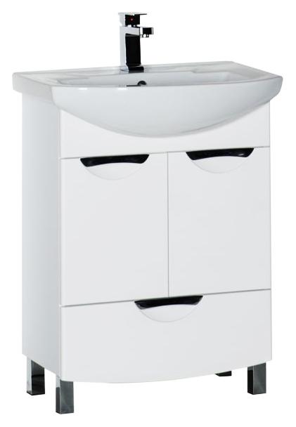 Парма 65 с ящиком белая глянцеваяМебель для ванной<br>Тумба под раковину Aquanet Парма 65 с ящиком, 2 распашные дверцы, 1 выдвижной ящик. Зона хранения обеспечивает достаточно места для расположения всего необходимого, при этом мебель выглядит очень компактной. Интересным акцентом служит оригинальная форма ручек на дверках и ящике, которые, при этом, очень удобны при касании. Ящик укомплектован доводчиком для плавного хода, а дверцы системой плавного закрывания. В комплект поставки входит тумба.<br>