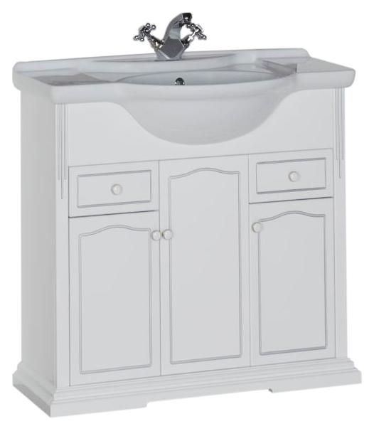 Тулуза 85 белая матоваяМебель для ванной<br>Тумба под раковину Aquanet Тулуза 85, 3 распашные дверцы, 2 выдвижных ящика. При своей вместительности тумба не выглядит громоздкой, благодаря своему белому цвету, который делает мебель визуально легкой, воздушной. В комплект поставки входит тумба.<br>