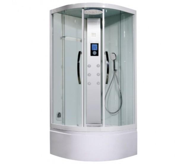 Lira II 100 Матовый хромДушевые кабины<br>Lagard Lira II 100 душевая кабина с высоким поддоном 45 см. LED-подсветка,  ультрасовременный сенсорный пульт управления, FM-радио, контроль проигрывания MP3 файлов (внешний источник)<br>Турецкая баня, максимальная температура пара которой достигает  60 градусов. Адаптивные анатомические форсунки с 10-струйным изливом, силиконовыми соплами и гипоаллергенной сталью, с возможностью быстрой ручной очистки функциональных отверстий. Форсунки способны изменять угол осевого наклона струи в диапазоне до 25°. В комплекте ручная лейка со шлaнгом и металлический тропический душ. Стенки выполнены из ударопрочного стекла толщиной 6 мм.<br>
