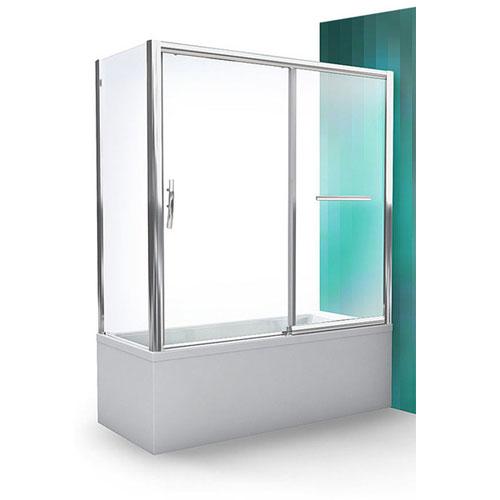 PXV2L/1500 Профиль Brilliant, стекло прозрачное RДушевые ограждения<br>Шторка на ванну Roltechnik PXV2L/1500 451-150000P-00-02 с раздвижной дверью, дверь расположена с правой стороны. Ширина входа 600 мм. Безопасное стекло толщиной 6 мм с покрытием Nanoglass II (защита от водного камня и простота в уходе за чистотой стекла).<br>