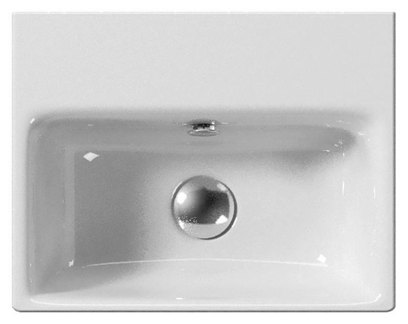 Sand 40 9084111 белаяРаковины<br>Раковина подвесная GSI Sand 40 9084111, одно отверстие для слива-перелива. Раковина подвешивается или встраивается в стену. Цена указана за раковину. Все остальное приобретается дополнительно.<br>