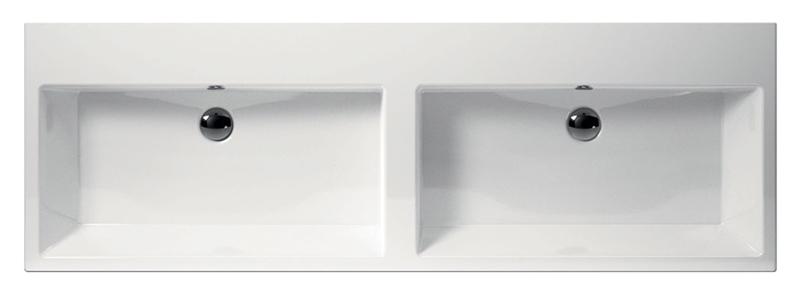 Kube 150 8963111 белая, накладнаяРаковины<br>Раковина накладная GSI Kube 150 89639111, двойная, с переливом, шлифованный низ.<br>