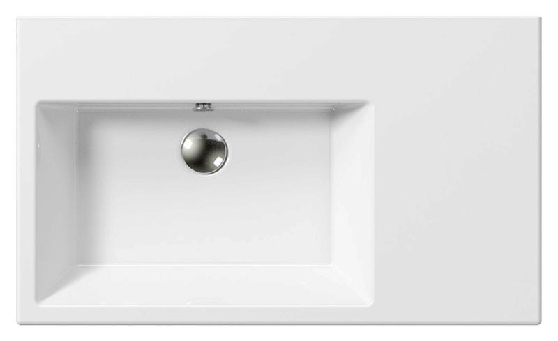 Kube 80/D 8956111 белая, подвесная, праваяРаковины<br>Раковина подвесная GSI Kube 80/D 8956111, с керамической полкой справа, с отверстием для слива-перелива.<br>