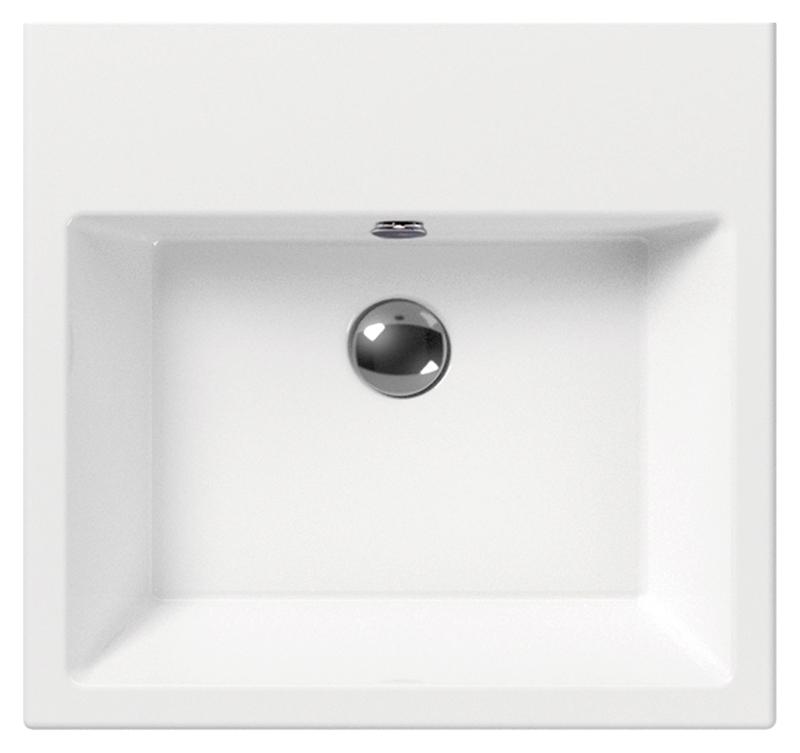 Kube 50 89309111 белая, накладнаяРаковины<br>Раковина накладная GSI Kube 50 89309111 с  отверстием для слива-перелива, шлифованный низ.<br>