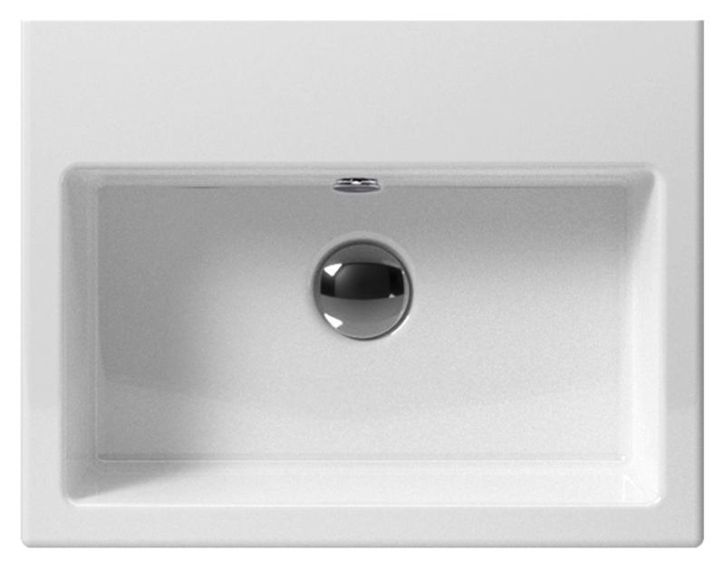 Kube 45 8985111 белая, подвеснаяРаковины<br>Раковина подвесная GSI Kube 45 8985111 с отверстием для слива-перелива.<br>