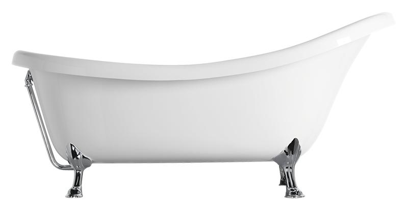 Classic London 175 белая глянцевая, хромВанны<br>Ванна акриловая GSI Classic London 175 белая глянцевая, фурнитура хром. Цена указана за ванну, сифон, донный клапан и ножки. Все остальное приобретается отдельно.<br>