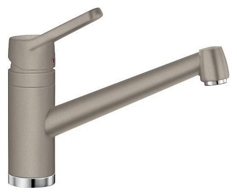 Actis 517632 Серый бежСмесители<br>Blanko Actis 517632. Однорычажный смеситель для кухни. Сочетает хромированную поверхность и инновационный материал Silgranit, цвет серый беж, рычаг переключения расположен вверху над изливом. Керамический картридж. Гибкая подводка стандарта 3/8.  Допустимая толщина столешницы: 45 мм. Длина излива: 195 мм. Высота излива: 126 мм. Вращение излива на 360 градусов. Стабилизирующая пластина для увеличения устойчивости смесителя.<br>