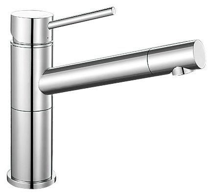 Alta Compact 515120 ХромСмесители<br>Blanko Alta Compact 515120. Однорычажный смеситель для кухни. Сочетает хромированную поверхность и инновационный материал Silgranit, цвет хром, рычаг переключения расположен вверху над изливом. Носик излива поворотный вокруг своей оси. Керамический картридж. Гибкая подводка стандарта 3/8.  Допустимая толщина столешницы: 45 мм. Длина излива: 200 мм. Высота излива: 155 мм. Вращение излива на 360 градусов. Стабилизирующая пластина для увеличения устойчивости смесителя.<br>