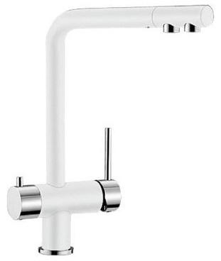 Fontas 518506 БелыйСмесители<br>Blanko Fontas 518506. Однорычажный смеситель для кухни. Сочетает хромированную поверхность и инновационный материал Silgranit, цвет белый. Отдельный излив для питьевой воды, запорный вентиль, подключение к фильтру. Керамический картридж. Гибкая подводка стандарта 3/8. Допустимая толщина столешницы: 60 мм. Длина излива: 206 мм. Высота излива: 271 мм. Вращение излива на 360 градусов. Стабилизирующая пластина для увеличения устойчивости смесителя.<br>