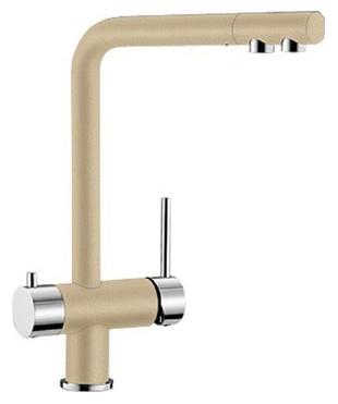 Fontas 518508 ШампаньСмесители<br>Blanko Fontas 518508. Однорычажный смеситель для кухни. Сочетает хромированную поверхность и инновационный материал Silgranit, цвет шампань. Отдельный излив для питьевой воды, запорный вентиль, подключение к фильтру. Керамический картридж. Гибкая подводка стандарта 3/8. Допустимая толщина столешницы: 60 мм. Длина излива: 206 мм. Высота излива: 271 мм. Вращение излива на 360 градусов. Стабилизирующая пластина для увеличения устойчивости смесителя.<br>