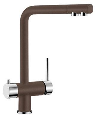 Fontas 518513 КофеСмесители<br>Blanko Fontas 518513. Однорычажный смеситель для кухни. Сочетает хромированную поверхность и инновационный материал Silgranit, цвет кофе. Отдельный излив для питьевой воды, запорный вентиль, подключение к фильтру. Керамический картридж. Гибкая подводка стандарта 3/8. Допустимая толщина столешницы: 60 мм. Длина излива: 206 мм. Высота излива: 271 мм. Вращение излива на 360 градусов. Стабилизирующая пластина для увеличения устойчивости смесителя.<br>