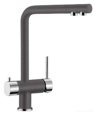 Fontas 518808 Темная скалаСмесители<br>Blanko Fontas 518808. Однорычажный смеситель для кухни. Сочетает хромированную поверхность и инновационный материал Silgranit, цвет темная скала. Отдельный излив для питьевой воды, запорный вентиль, подключение к фильтру. Керамический картридж. Гибкая подводка стандарта 3/8. Допустимая толщина столешницы: 60 мм. Длина излива: 206 мм. Высота излива: 271 мм. Вращение излива на 360 градусов. Стабилизирующая пластина для увеличения устойчивости смесителя.<br>