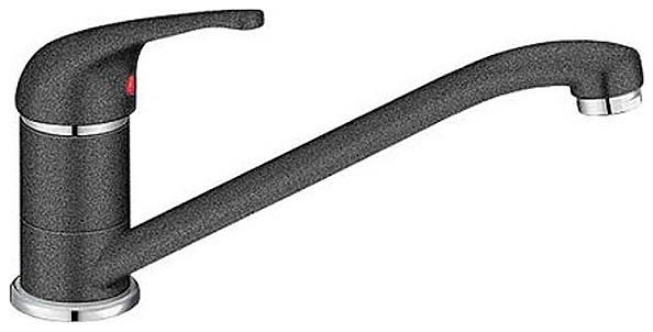 Daras 517721 АнтрацитСмесители<br>Blanko Daras 517721. Однорычажный смеситель для кухни. Сочетает хромированную поверхность и инновационный материал Silgranit, цвет антрацит. Керамический картридж. Гибкая подводка стандарта 3/8. Допустимая толщина столешницы: 40 мм. Длина излива: 227 мм. Высота излива: 152 мм. Вращение излива на 360 градусов.<br>