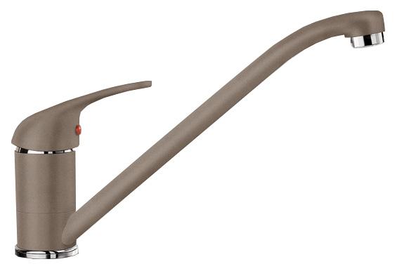 Daras 517730 Серый бежСмесители<br>Blanko Daras 517730. Однорычажный смеситель для кухни. Сочетает хромированную поверхность и инновационный материал Silgranit, цвет серый беж. Керамический картридж. Гибкая подводка стандарта 3/8. Допустимая толщина столешницы: 40 мм. Длина излива: 227 мм. Высота излива: 152 мм. Вращение излива на 360 градусов. Подходит для моек с небольшими чашами.<br>