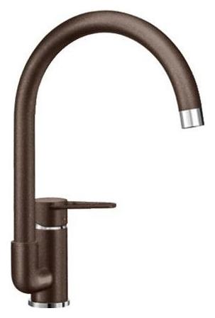 Jeta 519735 КофеСмесители<br>Blanko Jeta 519735. Однорычажный смеситель для кухни. Сочетает хромированную поверхность и инновационный материал Silgranit, цвет кофе, рычаг переключения расположен сбоку от излива. Керамический картридж. Гибкая подводка стандарта 3/8. Допустимая толщина столешницы: 40 мм. Длина излива: 212 мм. Высота излива: 215 мм. Вращение излива на 360 градусов. Запатентованный рассекатель, уменьшающий отложения налета от воды.<br>
