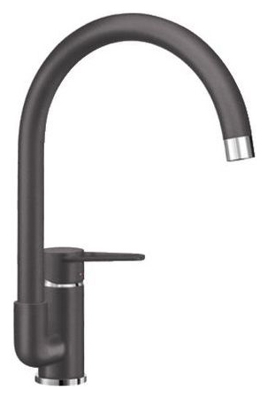 Jeta 519736 Темная скалаСмесители<br>Blanko Jeta 519736. Однорычажный смеситель для кухни. Сочетает хромированную поверхность и инновационный материал Silgranit, цвет темная скала, рычаг переключения расположен сбоку от излива. Керамический картридж. Гибкая подводка стандарта 3/8. Допустимая толщина столешницы: 40 мм. Длина излива: 212 мм. Высота излива: 215 мм. Вращение излива на 360 градусов. Запатентованный рассекатель, уменьшающий отложения налета от воды.<br>