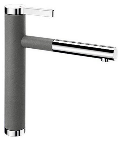Linee-S 518439 Хром/АлюметалликСмесители<br>Blanko Linee-S 518439. Однорычажный смеситель для кухни с выдвижным изливом. Сочетает хромированную поверхность и инновационный материал Silgranit, цвет хром/алюметаллик. Шланг выдвижного излива в металлической оплетке. Керамический картридж. Гибкая подводка стандарта 3/8. Допустимая толщина столешницы: 40 мм. Длина излива: 208 мм. Высота излива: 190 мм. Вращение излива на 130 градусов. Возвратные клапаны, предотвращающие возврат воды. Запатентованный рассекатель, уменьшающий отложения налета от воды. Стабилизирующая пластина для увеличения устойчивости смесителя.<br>