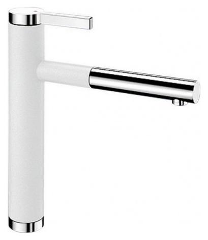 Linee-S 518441 Хром/БелыйСмесители<br>Blanko Linee-S 518441. Однорычажный смеситель для кухни с выдвижным изливом. Сочетает хромированную поверхность и инновационный материал Silgranit, цвет хром/белый. Шланг выдвижного излива в металлической оплетке. Керамический картридж. Гибкая подводка стандарта 3/8. Допустимая толщина столешницы: 40 мм. Длина излива: 208 мм. Высота излива: 190 мм. Вращение излива на 130 градусов. Возвратные клапаны, предотвращающие возврат воды. Запатентованный рассекатель, уменьшающий отложения налета от воды. Стабилизирующая пластина для увеличения устойчивости смесителя.<br>