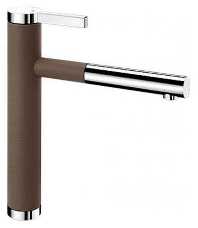 Linee-S 518445 Хром/КофеСмесители<br>Blanko Linee-S 518445. Однорычажный смеситель для кухни с выдвижным изливом. Сочетает хромированную поверхность и инновационный материал Silgranit, цвет хром/кофе. Шланг выдвижного излива в металлической оплетке. Керамический картридж. Гибкая подводка стандарта 3/8. Допустимая толщина столешницы: 40 мм. Длина излива: 208 мм. Высота излива: 190 мм. Вращение излива на 130 градусов. Возвратные клапаны, предотвращающие возврат воды. Запатентованный рассекатель, уменьшающий отложения налета от воды. Стабилизирующая пластина для увеличения устойчивости смесителя.<br>
