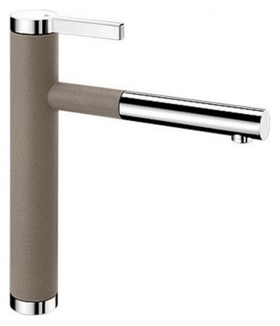 Linee-S 518446 Хром/Серый бежСмесители<br>Blanko Linee-S 518446. Однорычажный смеситель для кухни с выдвижным изливом. Сочетает хромированную поверхность и инновационный материал Silgranit, цвет хром/серый беж. Шланг выдвижного излива в металлической оплетке. Керамический картридж. Гибкая подводка стандарта 3/8. Допустимая толщина столешницы: 40 мм. Длина излива: 208 мм. Высота излива: 190 мм. Вращение излива на 130 градусов. Возвратные клапаны, предотвращающие возврат воды. Запатентованный рассекатель, уменьшающий отложения налета от воды. Стабилизирующая пластина для увеличения устойчивости смесителя.<br>