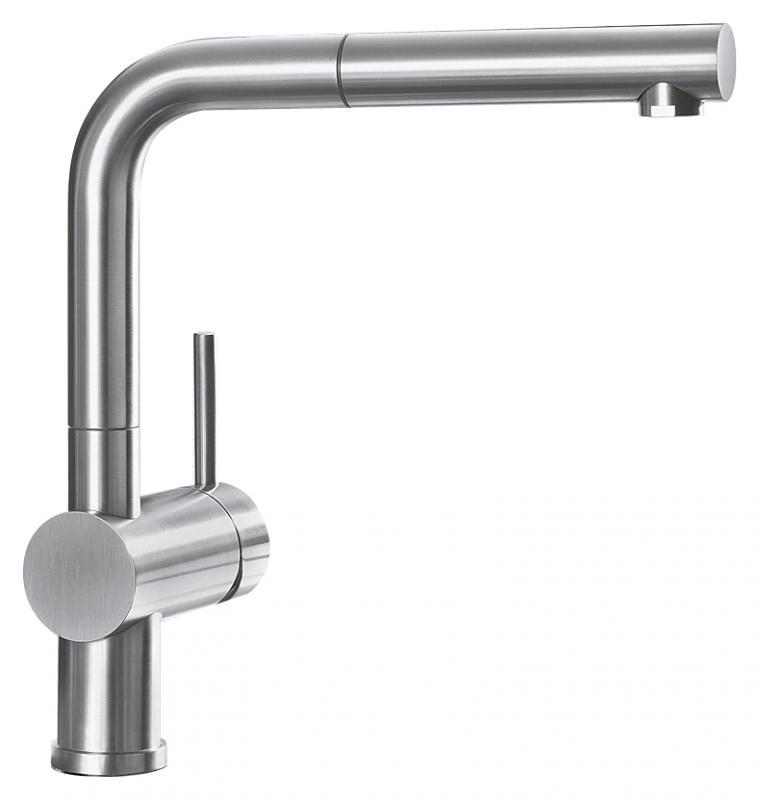 Linus-S 512402 Хром матовыйСмесители<br>Blanko Linus 512402. Однорычажный смеситель для кухни. Цвет хром матовый, выдвижной излив. Керамический картридж. Гибкая подводка стандарта 3/8. Допустимая толщина столешницы: 50 мм. Длина излива: 219 мм. Высота излива: 254 мм. Вращение излива на 140 градусов. Высокий излив позволяет наполнить большие кастрюли или вазы. Рычаг управления можно расположить справа, слева, либо по центру. Стабилизирующая пластина для увеличения устойчивости смесителя.<br>