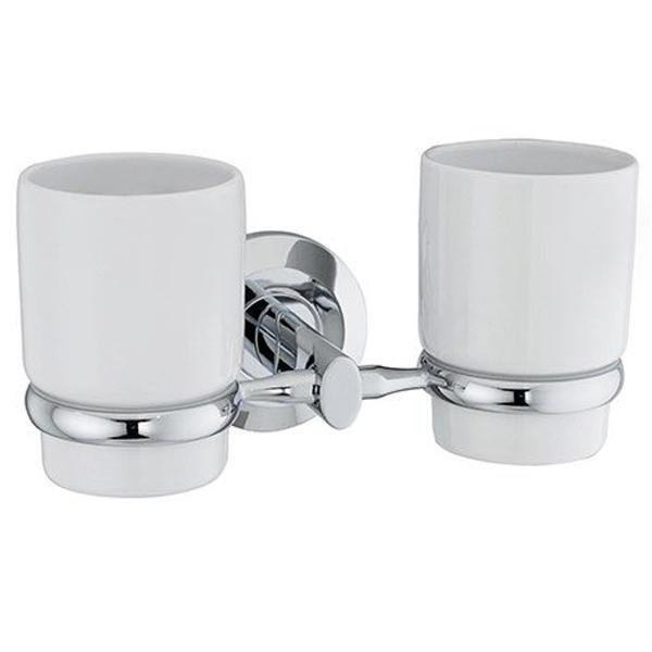 Rhein K-6228DC БелыйАксессуары для ванной<br>Двойной подстаканник Wasser Kraft Rhein K-6228DC - это изящное и лаконичное решение для любой ванной комнаты.<br>Материал: керамика, металл.<br>Размер: 19.5x10.8x10.6 см.<br>