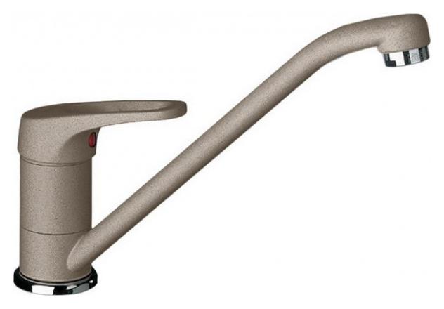Wega 517641 Серый бежСмесители<br>Blanko Wega 517641. Однорычажный смеситель для кухни. Сочетает хромированную поверхность и инновационный материал Silgranit, цвет серый беж, рычаг переключения расположен вверху над изливом. Керамический картридж. Гибкая подводка стандарта 3/8,  Допустимая толщина столешницы: 40 мм. Длина излива: 210 мм. Высота излива: 159 мм. Вращение излива на 360 градусов. Запатентованный рассекатель, уменьшающий отложения налета от воды. Стабилизирующая пластина для увеличения устойчивости смесителя.<br>