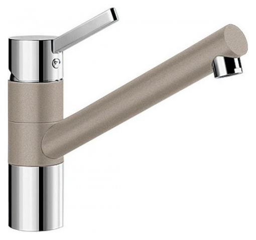 Tivo 517609 Хром/Серый бежСмесители<br>Blanko Tivo 517609. Однорычажный смеситель для кухни. Сочетает хромированную поверхность и инновационный материал Silgranit, цвет хром/серый беж. Керамический картридж. Гибкая подводка стандарта 3/8. Допустимая толщина столешницы: 40 мм. Длина излива: 215 мм. Высота излива: 145 мм. Вращение излива на 360 градусов. Стабилизирующая пластина для увеличения устойчивости смесителя.<br>