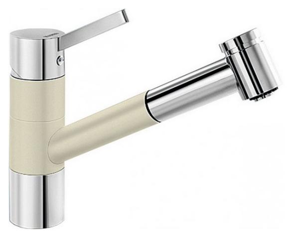 Tivo-S 517614 Хром/ЖасминСмесители<br>Blanko Tivo-S 517614. Однорычажный смеситель для кухни с выдвижным изливом, рычаг переключения расположен вверху над изливом. Шланг выдвижного излива в металлической оплетке. 2 режима работы излива: струя/душ. Сочетает хромированную поверхность и инновационный материал Silgranit, цвет хром/жасмин. Керамический картридж. Гибкая подводка стандарта 3/8. Допустимая толщина столешницы: 40 мм. Длина излива: 215 мм. Высота излива: 135 мм. Вращение излива на 120 градусов. Запатентованный рассекатель, уменьшающий отложения налета от воды. Стабилизирующая пластина для увеличения устойчивости смесителя.<br>