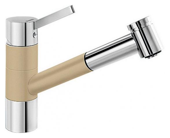Tivo-S 517615 Хром/ШампаньСмесители<br>Blanko Tivo-S 517615. Однорычажный смеситель для кухни с выдвижным изливом, рычаг переключения расположен вверху над изливом. Шланг выдвижного излива в металлической оплетке. 2 режима работы излива: струя/душ. Сочетает хромированную поверхность и инновационный материал Silgranit, цвет хром/шампань. Керамический картридж. Гибкая подводка стандарта 3/8. Допустимая толщина столешницы: 40 мм. Длина излива: 215 мм. Высота излива: 135 мм. Вращение излива на 120 градусов. Запатентованный рассекатель, уменьшающий отложения налета от воды. Стабилизирующая пластина для увеличения устойчивости смесителя. Возможно комплектовать фильтром (117752) и защитной рамкой для шлангов смесителя (511920).<br>