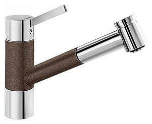 Tivo-S 517618 Хром/КофеСмесители<br>Blanko Tivo-S 517618. Однорычажный смеситель для кухни с выдвижным изливом, рычаг переключения расположен вверху над изливом. Шланг выдвижного излива в металлической оплетке. 2 режима работы излива: струя/душ. Сочетает хромированную поверхность и инновационный материал Silgranit, цвет хром/кофе. Керамический картридж. Гибкая подводка стандарта 3/8. Допустимая толщина столешницы: 40 мм. Длина излива: 215 мм. Высота излива: 135 мм. Вращение излива на 120 градусов. Запатентованный рассекатель, уменьшающий отложения налета от воды. Стабилизирующая пластина для увеличения устойчивости смесителя.<br>