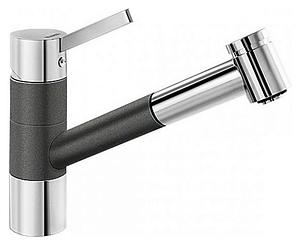 Tivo-S 518798 Хром/Темная скалаСмесители<br>Blanko Tivo-S 518798. Однорычажный смеситель для кухни с выдвижным изливом, рычаг переключения расположен вверху над изливом. Шланг выдвижного излива в металлической оплетке. 2 режима работы излива: струя/душ. Сочетает хромированную поверхность и инновационный материал Silgranit, цвет хром/темная скала. Керамический картридж. Гибкая подводка стандарта 3/8. Допустимая толщина столешницы: 40 мм. Длина излива: 215 мм. Высота излива: 135 мм. Вращение излива на 120 градусов. Запатентованный рассекатель, уменьшающий отложения налета от воды. Стабилизирующая пластина для увеличения устойчивости смесителя.<br>