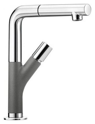 Yovis-S 518293 Хром/АлюметалликСмесители<br>Blanko Yovis-S 518293. Однорычажный смеситель для кухни с выдвижным изливом, рычаг справа или слева от излива. Шланг выдвижного излива в металлической оплетке. Сочетает хромированную поверхность и инновационный материал Silgranit, цвет хром/алюметаллик. Керамический картридж. Гибкая подводка стандарта 3/8. Длина излива: 186 мм. Высота излива: 245 мм. Вращение излива на 360 градусов. Высокий излив позволяет наполнить большие кастрюли или вазы. Стабилизирующая пластина для увеличения устойчивости смесителя.<br>
