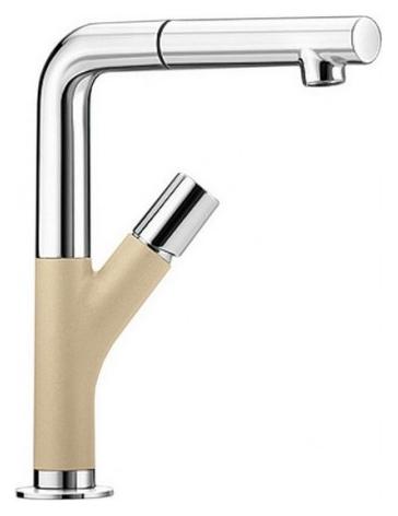Yovis-S 518297 Хром/ШампаньСмесители<br>Blanko Yovis-S 518297. Однорычажный смеситель для кухни с выдвижным изливом, рычаг справа или слева от излива. Шланг выдвижного излива в металлической оплетке. Сочетает хромированную поверхность и инновационный материал Silgranit, цвет хром/шампань. Керамический картридж. Гибкая подводка стандарта 3/8. Длина излива: 186 мм. Высота излива: 245 мм. Вращение излива на 360 градусов. Высокий излив позволяет наполнить большие кастрюли или вазы. Встроенные обратные клапаны. Защита от обратного потока. Стабилизирующая пластина для увеличения устойчивости смесителя.<br>
