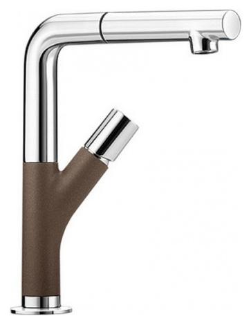Yovis-S 518299 Хром/КофеСмесители<br>Blanko Yovis-S 518299. Однорычажный смеситель для кухни с выдвижным изливом, рычаг справа или слева от излива. Шланг выдвижного излива в металлической оплетке. Сочетает хромированную поверхность и инновационный материал Silgranit, цвет хром/кофе. Керамический картридж. Гибкая подводка стандарта 3/8. Длина излива: 186 мм. Высота излива: 245 мм. Вращение излива на 360 градусов. Высокий излив позволяет наполнить большие кастрюли или вазы. Встроенные обратные клапаны. Защита от обратного потока. Стабилизирующая пластина для увеличения устойчивости смесителя.<br>
