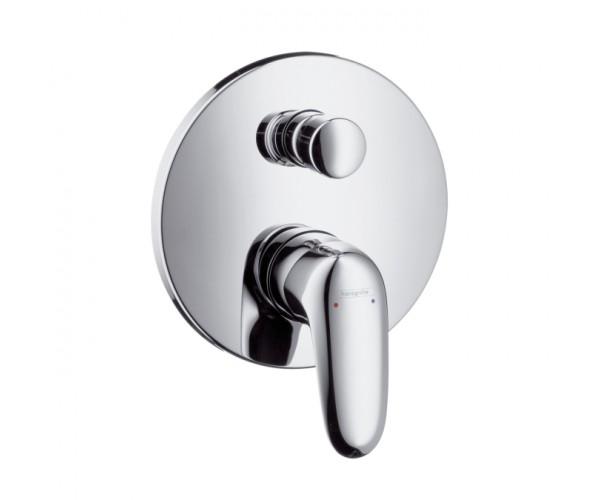 Metris Е 31475000 ХромСмесители<br>Внешняя часть смесителя для ванны Hansgrohe Metris E, В комплекте поставки: рукоятка, гильза, розетка, переключатель, функциональный блок. Крепление рукоятки Boltic. Возможна регулировка температуры выхода воды со смесителя, автоматическое переключение душ/ванна. Монтируется на стену.<br>