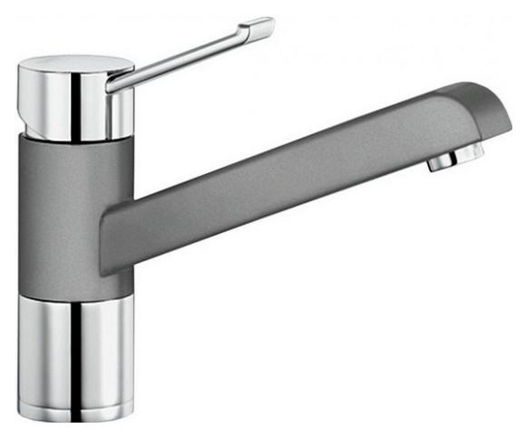 Zenos 517806 Хром/АлюметалликСмесители<br>Blanko Zenos 517806. Однорычажный смеситель для кухни. Рычаг переключения расположен вверху над изливом. Сочетает хромированную поверхность и инновационный материал Silgranit, цвет хром/алюметаллик. Керамический картридж. Гибкая подводка стандарта 3/8. Допустимая толщина столешницы: 55 мм. Длина излива: 181,5 мм. Высота излива: 120мм. Вращение излива на 360 градусов. Сочетается с небольшими мойками. Запатентованный рассекатель, уменьшающий отложения налета от воды. Стабилизирующая пластина для увеличения устойчивости смесителя.<br>