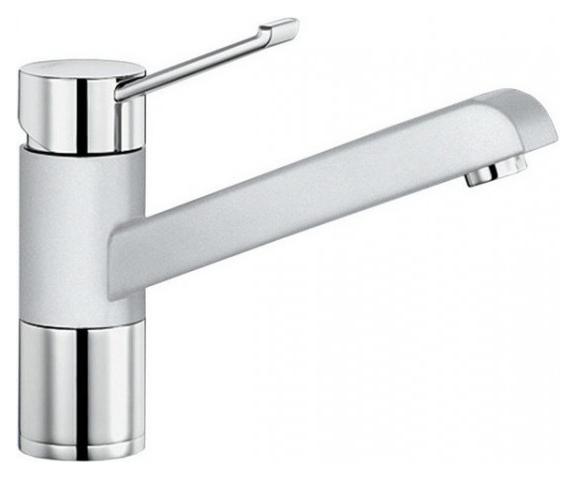 Zenos 517808 Хром/белыйСмесители<br>Blanko Zenos 517808. Однорычажный смеситель для кухни. Рычаг переключения расположен вверху над изливом. Сочетает хромированную поверхность и инновационный материал Silgranit, цвет хром/белый. Керамический картридж. Гибкая подводка стандарта 3/8. Допустимая толщина столешницы: 55 мм. Длина излива: 181,5 мм. Высота излива: 120мм. Вращение излива на 360 градусов. Сочетается с небольшими мойками. Запатентованный рассекатель, уменьшающий отложения налета от воды. Стабилизирующая пластина для увеличения устойчивости смесителя.<br>