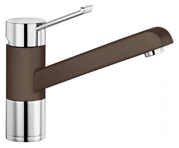 Zenos 517813 Хром/КофеСмесители<br>Blanko Zenos 517813. Однорычажный смеситель для кухни. Рычаг переключения расположен вверху над изливом. Сочетает хромированную поверхность и инновационный материал Silgranit, цвет хром/кофе. Керамический картридж. Гибкая подводка стандарта 3/8. Допустимая толщина столешницы: 55 мм. Длина излива: 181,5 мм. Высота излива: 120мм. Вращение излива на 360 градусов. Сочетается с небольшими мойками. Запатентованный рассекатель, уменьшающий отложения налета от воды. Стабилизирующая пластина для увеличения устойчивости смесителя.<br>