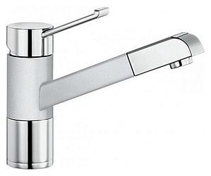 Zenos-S 517822 Хром/Белый матовыйСмесители<br>Blanko Zenos-S 517822. Однорычажный смеситель для кухни с выдвижным изливом, рычаг переключения расположен вверху над изливом. Шланг выдвижного излива в металлической оплетке. Сочетает хромированную поверхность и инновационный материал Silgranit, цвет хром/белый матовый. Керамический картридж. Гибкая подводка стандарта 3/8. Допустимая толщина столешницы: 55 мм. Длина излива: 177 мм. Высота излива: 119,5 мм. Вращение излива на 140 градусов. Запатентованный рассекатель, уменьшающий отложения налета от воды. Защита от обратного потока, встроенные обратные клапаны. Стабилизирующая пластина для увеличения устойчивости смесителя.<br>