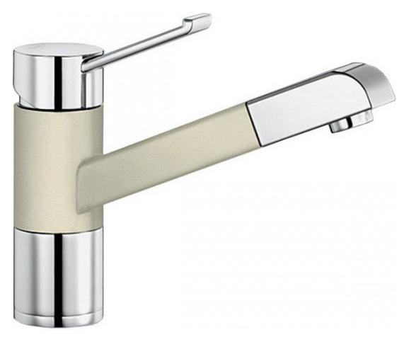 Zenos-S 517823 Хром/ЖасминСмесители<br>Blanko Zenos-S 517823. Однорычажный смеситель для кухни с выдвижным изливом, рычаг переключения расположен вверху над изливом. Шланг выдвижного излива в металлической оплетке. Сочетает хромированную поверхность и инновационный материал Silgranit, цвет хром/жасмин. Керамический картридж. Гибкая подводка стандарта 3/8. Допустимая толщина столешницы: 55 мм. Длина излива: 177 мм. Высота излива: 119,5 мм. Вращение излива на 140 градусов. Запатентованный рассекатель, уменьшающий отложения налета от воды. Защита от обратного потока, встроенные обратные клапаны. Стабилизирующая пластина для увеличения устойчивости смесителя. Возможно комплектовать фильтром (117752) и защитной рамкой для шлангов смесителя (511920).<br>